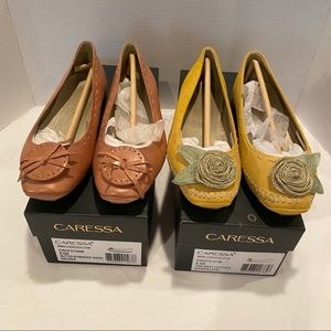 Caressa Leather & Suede Flats - 2 pairs
